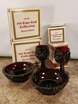 Avon 1876 Cape Cod Collection 2 Dessert Bowls 2 Wine Goblets Red 1982 - $24.23