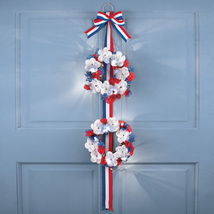 Lighted Sparkling Patriotic Roses Double Wreath  - $12.80