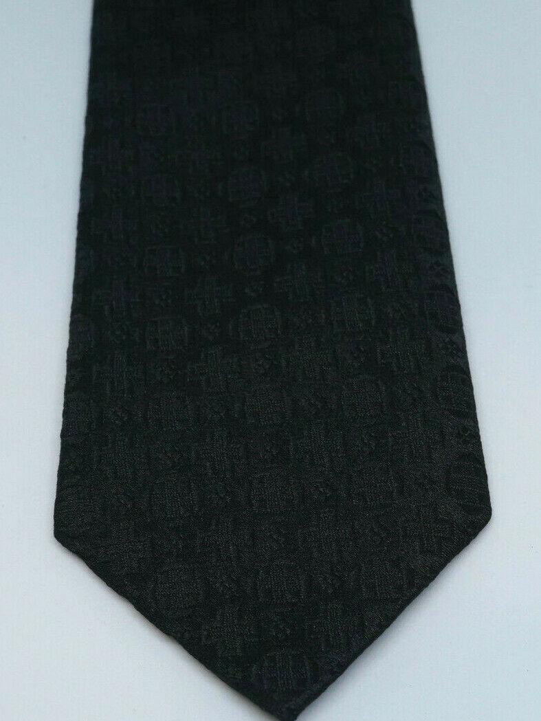Primary image for FESHMAN Vintage Boys' Tie 53″ Black Necktie Woven Crosses Communion Confirmation