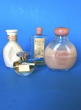 Vintage Vanity PINK Gold & Cream Glass Bottles Perfume and Lotion Muguet & Avon - $14.85