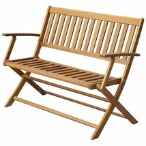 vidaXL Folding Solid Acacia Wood Garden Bench Outdoor House Natural Oil ... - $96.99