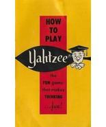 1967 YAHTZEE Game How to Play Rule Instruction Book E.S. Lowe Company - $3.55