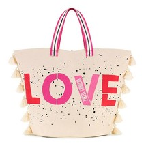 NWT VICTORIA'S SECRET Love Canvas VS Tote Bag Weeknder Off Pink White Ta... - $31.68