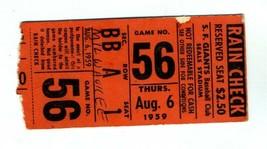 1959 San Francisco Giants Milwaukee Braves Ticket Mays McCovey Aaron Mat... - $79.31