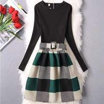 Long Sleeve Elegant Printed A-Line Women Mini Dress - $33.80
