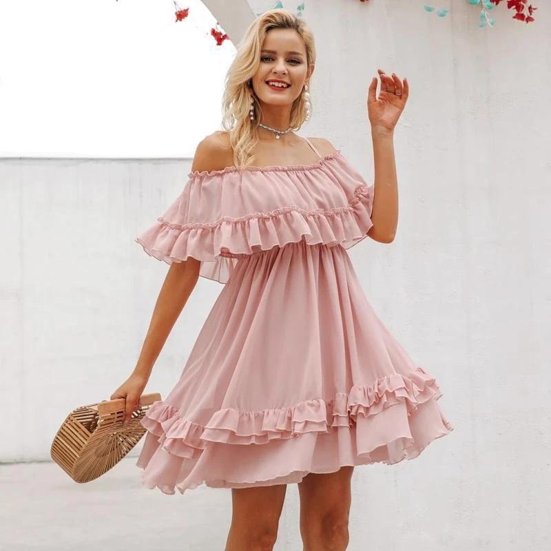 Uffle off shoulder women dress spaghetti strap chiffon summer dresses casual holiday female pink