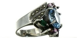Vintage Ladies Size 6.5 Sterling Silver Multi Stone Fashion Ring No. 2145 image 6