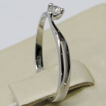 White Gold Ring 750 18K, Solitaire with Diamond Carat 0.07, Criss Crossed, Italy image 3