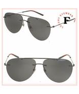 GUCCI 0397 Ruthenium Black Rimless Aviator Stripe Unisex Metal Sunglasse... - $269.28