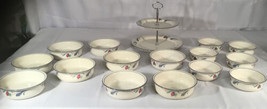 """Lenox 16 pc  Poppies on Blue 9- 6 1/4""""and 6- 5 1/4""""Bowls & 1-Tiered Serv... - $396.00"""