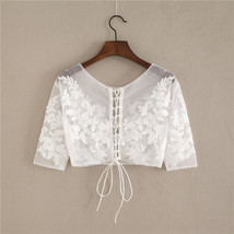Wedding Long Sleeve Lace Crop Top Women White Floral Crop Lace Shirts Plus Size image 3