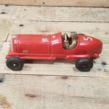 VTG 50s Hubley Kiddie Toy Racer Race Car No. 457 Metal Great Paint Missing Wheel - $39.55