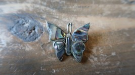 """Vintage Alpaca Silver Mother of Pearl Butterfly Pin 1"""" - $12.61"""