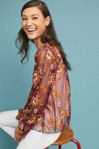 New Anthropologie Ruffled Giralda Blouse by FeatherBone  $128 SMALL  - $57.42