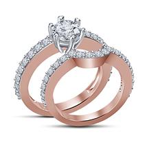14K Rose Gold Fn Solid Bridal Wedding Ring Set 1Ct Round Simulated Diamond  - $80.00
