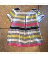 BABY GAP 2T LITTLE GIRLS STRIPED TOP PLAYTIME FAVORITES GRAY BLUE PINK Y... - $4.77