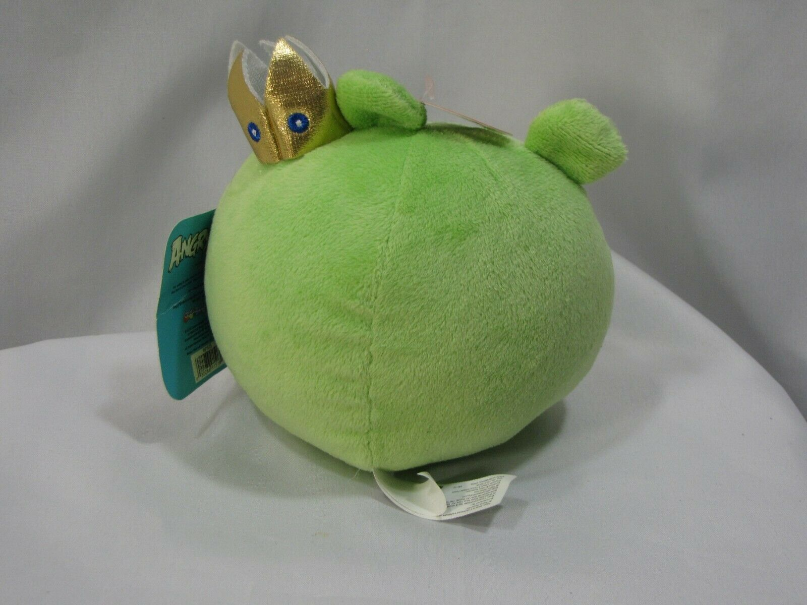 "Angry Birds 2010 Green King Pig Gold Crown WITH SOUND 5"" Plush Works Great"