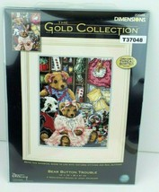 """Dimensions Gold Collection Bear Button Trouble Needlepoint Kit Teddy 12"""" x 16""""  - $79.19"""