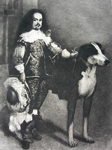 ORIGINAL ETCHING PRINT - Don Antonio Royal Dwarf & Huge Dog by VELASQUEZ - $39.60
