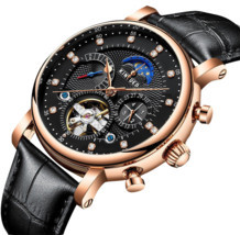 Tourbillon Automatic Mechanical Men's Watches Skeleton Swiss Date Leathe... - $56.99