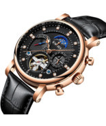 Tourbillon Automatic Mechanical Men's Watches Skeleton Swiss Date Leathe... - €49,98 EUR
