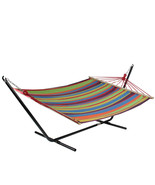 "Northlight 59"" x 78"" Green, Purple and Yellow Striped Poly Cotton Hammock - $68.05"