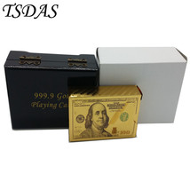 100 Dollar Bill Printed Plastic Gold Playing Cards With Wooden Box Poker... - $15.00