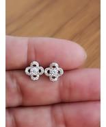 14k White Gold Finish Flower Stud Earrings,Gift for her 14K White Gold F... - $75.99