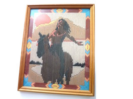 Vintage Framed Crewel Yarn Wall Art Indian on Horse Lines - $65.00
