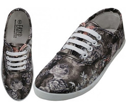 Womens Gray Pink Floral Print Canvas Sneakers Lace Up Tennis Shoes Size ... - £16.58 GBP