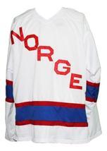 Custom Name # Team Norway Norge New Men Sewn Hockey Jersey White Any Size image 3