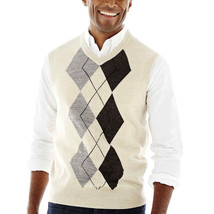 NWT Dockers ARGYLE Oatmeal Cream Pull over Warm Acrylic Sweater Vest $45... - $29.99