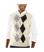 NWT Dockers ARGYLE Oatmeal Cream Pull over Warm Acrylic Sweater Vest $45 Size L - $29.99