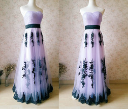 LIGHT PURPLE Strapless Sweetheart Neck High Waist Embroidery Maxi Wedding Dress  image 5
