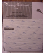 Tommy Bahama Sailfish Marlins Blue on White Cotton Percale Sheet Set Queen - $81.00