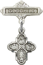 Sterling Silver Baby Badge with 4-Way Charm and Godchild Badge Pin 1 X 5/8 inch - $56.70
