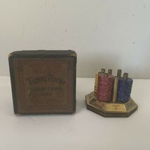 Vintage 1923 Brass Tung Foon Counter For Mahjong Original Box Metal Chip... - $74.78