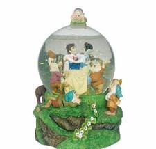 Snow White Seven Dwarfs snowglobe music box vtg Disney Someday Prince Dopey Doc - $292.05