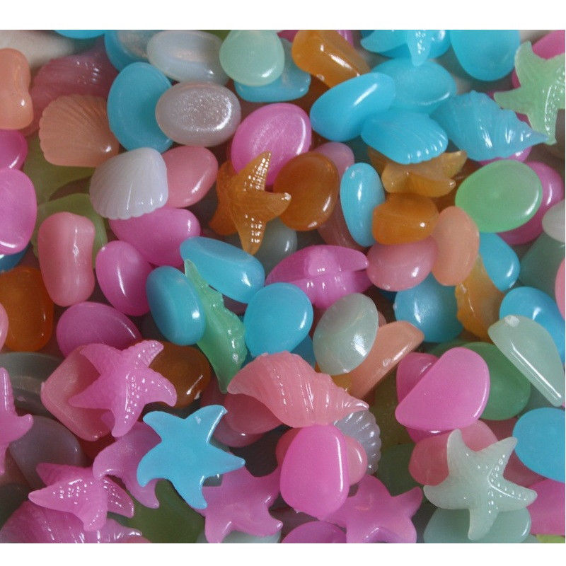 "Pkg of 50 GLOW IN THE DARK SHELL STONES about 1-1/2"" each Black Light Aquarium"