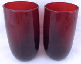 "Vtg Royal Ruby Roly Poly Glass Tumblers 5"" Flat Iced Tea A Hocking Set o... - $24.69"