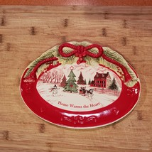 Vintage Christmas Dish, Holiday Fitz & Floyd Sentiment Tray Home Warms the Heart image 5