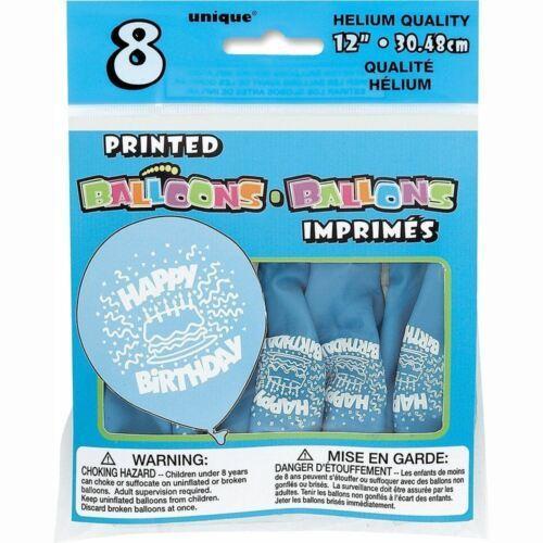 "Baby Blue Birthday Cake 8 Ct Latex 12"" Balloons"