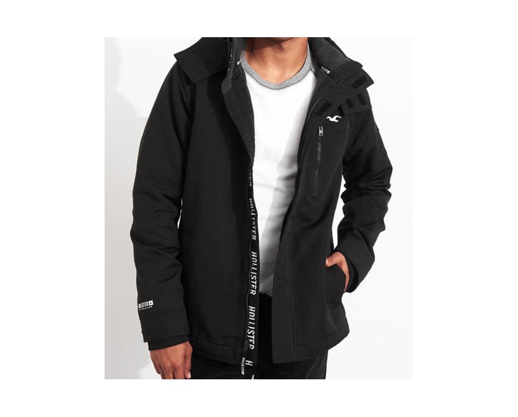 Hollister Men's Fleece-Lined Jacket Black Size L NWT