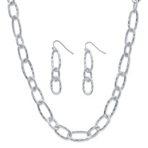 "2-Piece Silvertone Hammered Oval-Link Necklace and Drop Earrings Set 32""-35"" - $14.37"