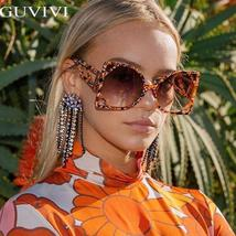 Square Oversized Sunglasses Women  Steampunk Vintage Sunglasses Fashion Retro Su image 3
