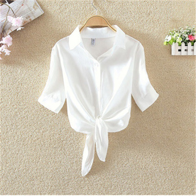 Women Ladies Summer Cotton Blouse Knot Button Casual Short Sleeve Blouse Clothes