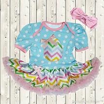 NEW Baby Girls Easter Egg Blue Polka Dot Tutu Romper Dress Headband Set - $12.99