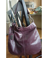 Badgley Mischka Dark Purple Leather Hobo Purse w/Silver Hardware - $89.99