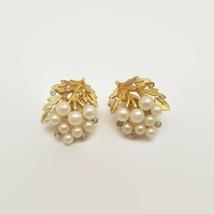Trifari Faux Pearl & Rhinestone Floral Design Clip Earrings - $23.28