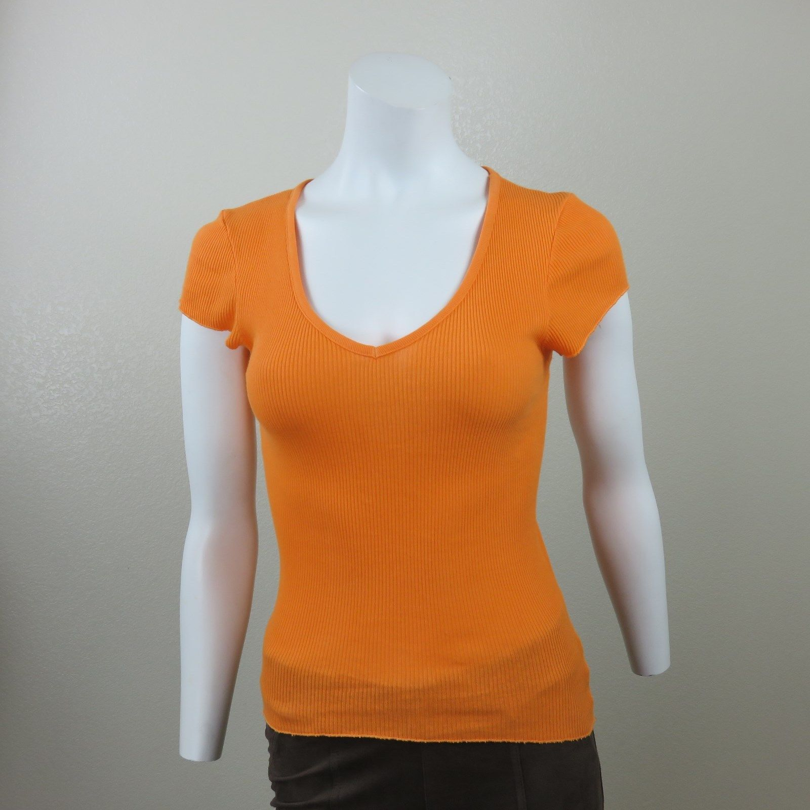 5b8d596ee1 New Michael Stars Orange Stretch Cotton Tee Top One Size Fits Cap Sleeve V  Neck